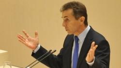 Վրաստան - Վարչապետի թեկնածու, «Վրացական երազանք» դաշինքի առաջնորդ Բիձինա Իվանիշվիլին ելույթ է ունենում խորհրդարանական փոքրամասնության հետ հանդիպման ժամանակ, Քութայիսի, 24-ը հոկտեմբերի, 2012թ.
