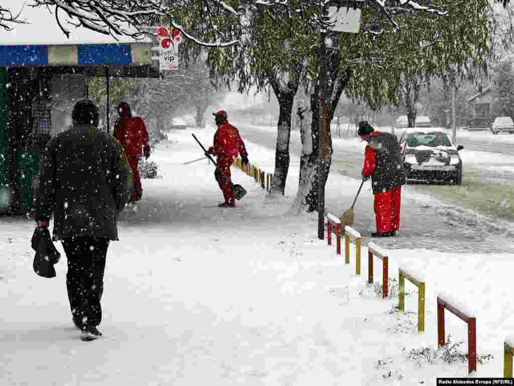 Македонија - снег во Скопје