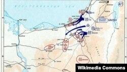 Harta Peninsulei Sinai și primele incursiuni israeliene 5-6 iunie 1967