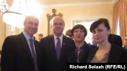William Browder, the CEO of Hermitage Capital Management; U.S. Congressman James McGovern; Natalia Magnitskaya, Sergei Magnitsky's mother; and Natalia Magnitskaya, Sergei Magnitsky's widow (left to right) at a reception in Washington on April 17.