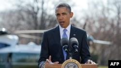 Президент США Барак Обама объявляет о новых санкциях в отношении России
