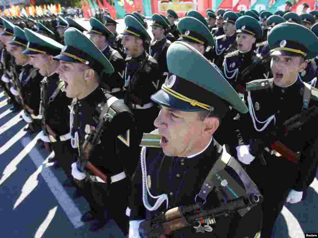 Soldiers of Moldova's self-proclaimed separatist Transdniester region take part in a military parade to celebrate 20 years of self-styled independence in Tiraspol on September 2. Photo by Gleb Garanich for Reuters