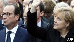 Президент Франции Франсуа Олланд и канцлер Германии Ангела Меркель.