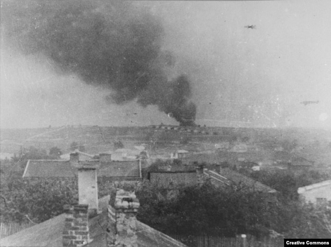 Smoke rises from the Majdanek extermination camp in October 1943.