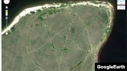 Изображение пентаграммы, обнаруженной в Северном Казахстане, на карте Google Maps.