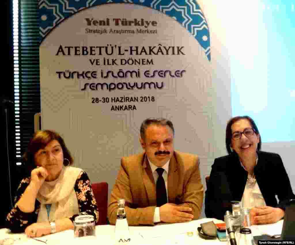 """Оңдо - профессор Гүлден Сагол Йүксеккайа.А.Жүгнекинин """"Атабат ул-хакайык"""" эмгегине ж.б. түркчө эрте мусулман жазмаларына арналган илимий жыйын кулжанын 28-30дарында өттү. Анкара ш., Түркия."""