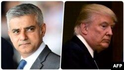 Kryetari i Londrës, Sadiq Khan (majtas) dhe presidenti i SHBA-së, Donald Trump (djathtas)