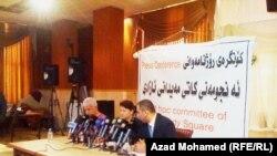 جانب من المؤتمر الصحفي الذي عقدته اللجنة المؤقتة لميدان التحرير في السليمانية