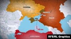 Карта: курс затонувшего судна в Турции