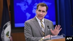 U.S. -- State Department Spokesman John Kirby speaks during the daily briefing at the State Department in Washington, January 6, 2015