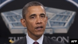 АҚШ президенті Барак Обама Пентагонда елдің жаңа әскери стратегиясымен таныстырып тұр. Вашингтон, 5 қаңтар 2012 жыл.