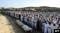 File photo of funeral prayers for Pakistanis killed in Afghanistan.