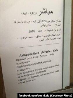 Оголошення про регулярний рейс Київ-Дамаск в аеропорту сирійської столиці