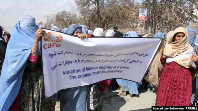 Afghan women during a demonstration condemning domestic violence, held in Kabul earlier this year
