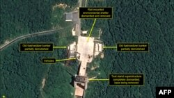 A satellite image dated July 22, 2018 and obtained July 23 that appears to show the dismantling of facilities at a launching station in North Korea. (Airbus Defense and Space/38 North)