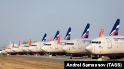 KRASNOYARSK TERRITORY, RUSSIA - APRIL 7, 2020: Aeroflot passenger planes at Krasnoyarsk International Airport. Russia has halted all international flights since March 27, 2020, amid the ongoing COVID-19 coronavirus pandemic, except for repatriation flights. Since April 4, every r