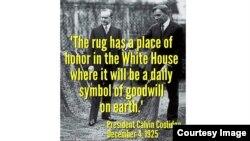 ԱՄՆ-ի 30-րդ նախագահ Քելվին Քուլիջը կանգնած է հայ որբերի գործած գորգի վրա, 4-ը դեկտեմբերի, 1925թ․
