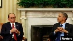 Thein Sein gjatë një takimi me presidentin, Barack Obama