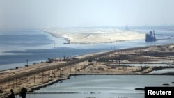"A general view of the Suez Canal from Al Salam ""Peace"" bridge on the Ismalia desert road. File photo"