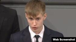 Николай Десятниченко, кадр и видеозаписи выступления в Бундестаге