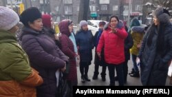 The protesters gathered outside Almaty city hall on February 8.