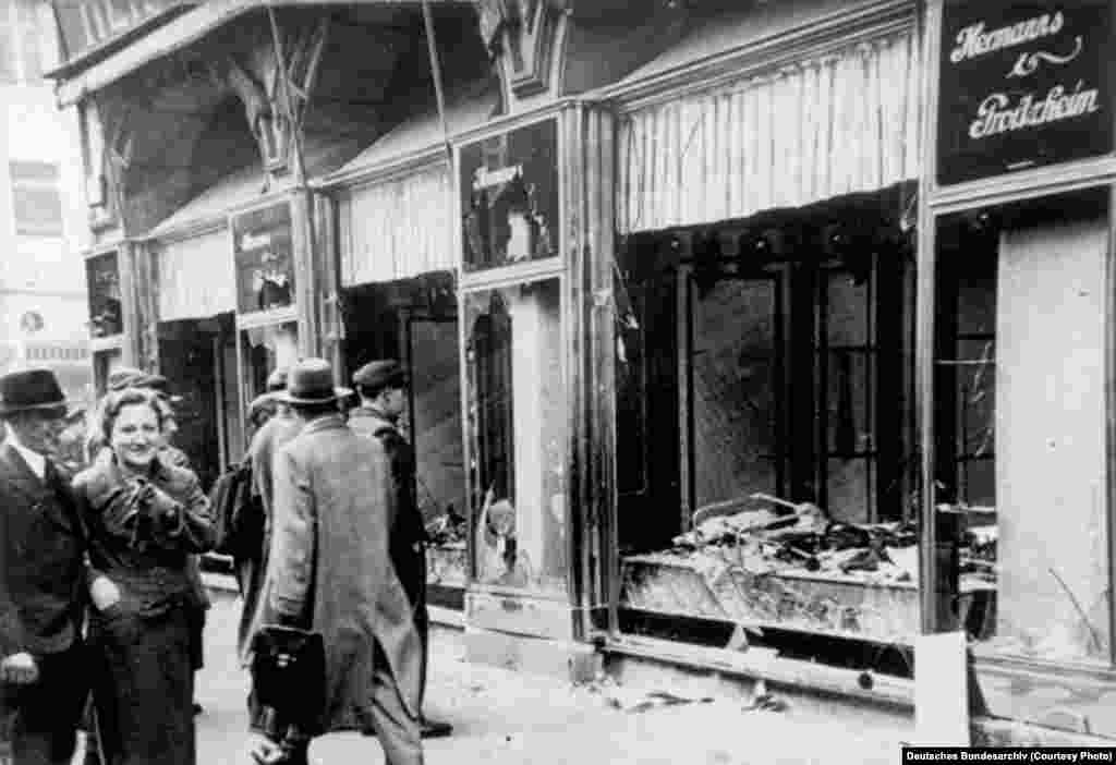 "A Jewish shop damaged during the ""Kristallnacht"" in Magdeburg, November 1938."