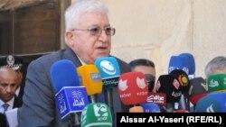 رئيس الجمهورية فؤاد معصوم يتحدث في مؤتمر صحفي بالنجف