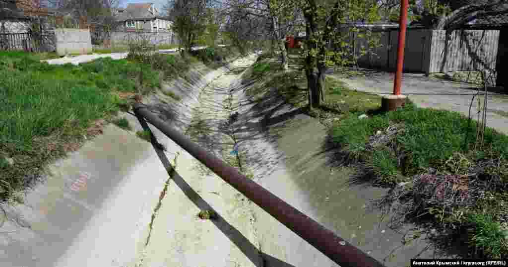 Арик у Поштовому, яким вода з річки Альма самопливом через систему шлюзів подається до водосховища
