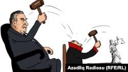 Milli məhkəmə. G.Ağayevin karikaturası.