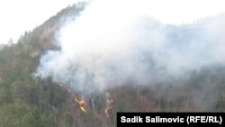 Пожарот околу Братунац и Сребреница.