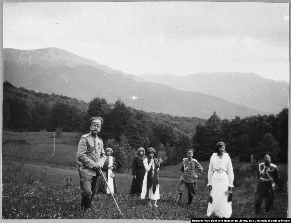 Nicholas II and his daughters hiking in Crimea