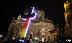 "Imagine de la o manifestație ""Pegida"" la Dresda"