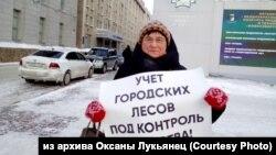 Пикет против вырубки лесов в Новосибирске, январь 2020 года