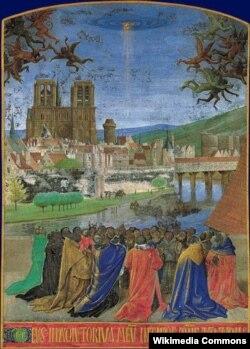 Сошествие Святого Духа (Десница Господа изгоняет бесов). Иллюстрация из Часослова Этьена Шевалье. XV век