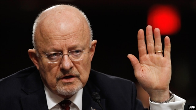 U.S. Director of National Intelligence James Clapper testifies on Capitol Hill in February.