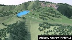 Курорт «Кок-Жайляу» на картинке. Под озером, возможно, проходит тектонический разлом. Алматы, 4 ноября 2018 года.