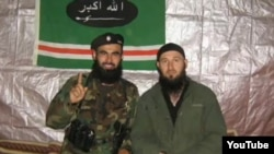 Khusein Gakayev (left), pictured with Emir Mansur prior to Umarov's proclamation of the Caucasus emirate