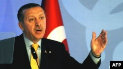 Turkey -- Prime Minister Recep Tayyip Erdogan speaks at the opening of the second summit of the Alliance of Civilisations in Istanbul, 06Apr2009