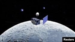 Японский корабль Kaguya на лунной орбите. Снимок японского космического агентства, сделанный в 2007 году.