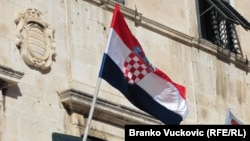 Croatia -- A flags of Croatia and Croatian Democratic Union party (HDZ), in Dubrovnik (Croatian, flag) 20Sep2010