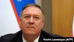 U.S. Secretary of State Mike Pompeo attends a press conference in Tashkent on February 3.