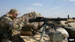 Блокпост украинских военных у поселка Пески