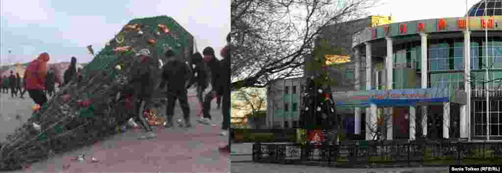 A video grab shows protesters pulling down a Christmas tree in the main square. Today, a Christmas tree stands in front of the city's Munaishy Palace of Culture.