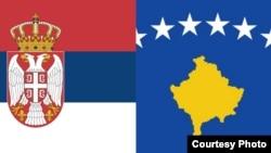 Flamuri i Serbisë dhe flamuri i Kosovës.