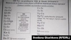 Казахская латиница ABCnet, разработанная лингвистом Жанатом Аймагановым. Представлена в Астане 27 октября 2011 года.
