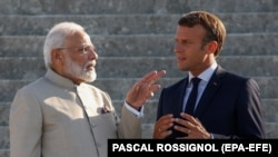 French President Emmanuel Macron and Indian Prime Minister Narendra Modi met at the Chateau of Chantilly, near Paris, on August 22.