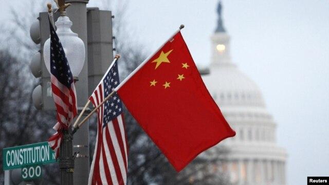 Zastave Kine i SAD, Vašington, ilustracija