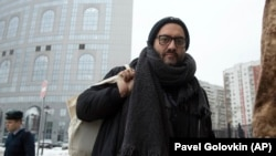 Kirill Serebrennikov arrives at a court for hearings in Moscow on December 3