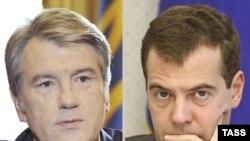 Președinții Ucrainei și Rusiei, Victor Iușcenko și Dmitri Medvedev