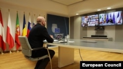 Charles Michel președintele Consiliului European, prezidând ultimul summit virtual al șefilor de stat și de guvern